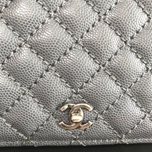 CHANEL Bags - {CHANEL} Caviar Micro Quilted Yen Wallet Grey